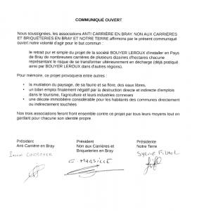 Communiqué signé par les présidents des associations